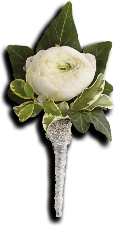 Blissful White Boutonniere